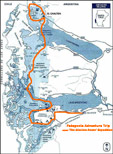 Patagonia Adventure Trip: The Glaciers Route Expedition - Map